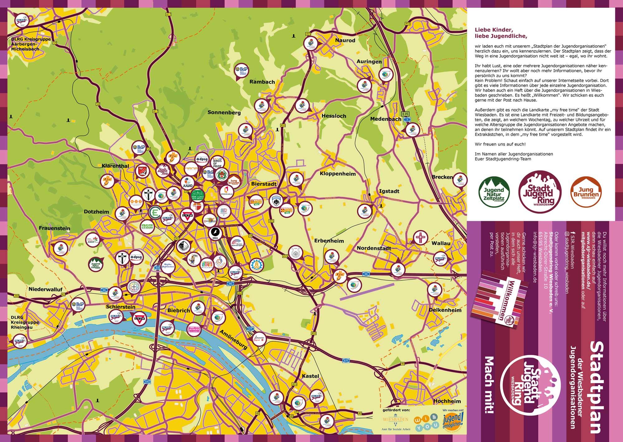 Stadtplan der Jugendorganisationen Wiesbaden